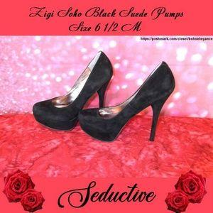 NIB Zigi Soho Black Suede Pumps Size 6 1/2M